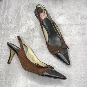 COACH Tianna Brown Suede Pointed Slingback Heels